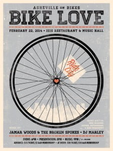 Bike Love 2014 celebrates Asheville on Bikes and bicycle culture at Isis Restaurant and Music Hall on February 22, 2014 from 6 pm to 2 am. Tickets available at supporting bike shops