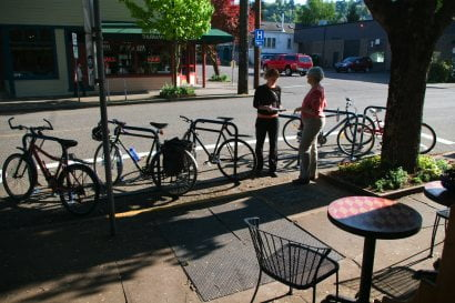 One way Portland uses for on-street bike parking.