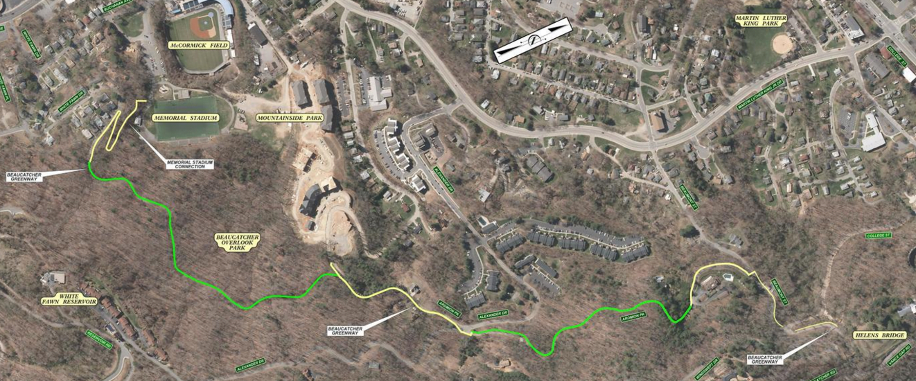 Path of proposed greenway, running from Memorial Stadium, above McCormick Field, through Beaucatcher Overlook Park and ending near Helen's Bridge and Beaumont St.