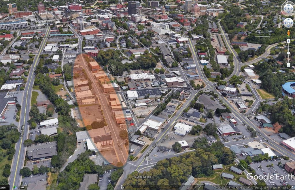 Image: 3D View of Coxe Ave looking north from near Lee Walker Heights