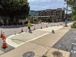 Coxe Avenue repainting multi-use path Asheville, NC
