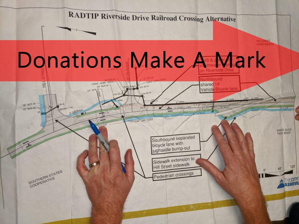 Image of hands on blueprints of Riverside Railroad crossing design