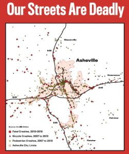 Map of Asheville showing bike and pedestrian injuries. Also showing auto any fatal collision, including auto.