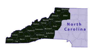 County Map of Western North Carolina