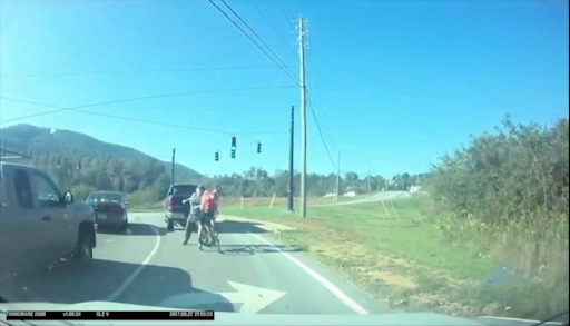 Dash camera footage screenshot of 2017 bicycle harassment incident